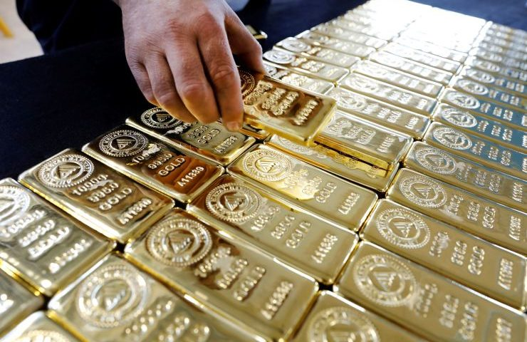 Gold eases on stronger equities, dollar