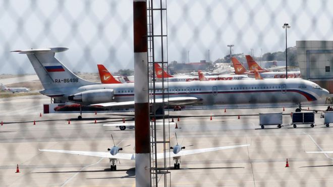 Venezuela crisis: Russian military planes land near Caracas