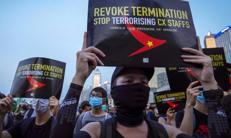 Unions Target Cathay Pacific Airline in Hong Kong Protest